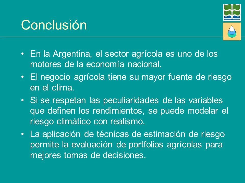 Conclusión En la Argentina, el sector agrícola es uno de los motores de la economía nacional. El negocio agrícola tiene su mayor fuente de riesgo en e