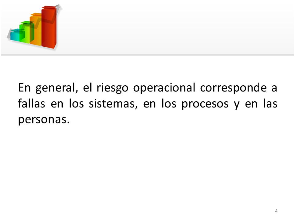 En general, el riesgo operacional corresponde a fallas en los sistemas, en los procesos y en las personas. 4