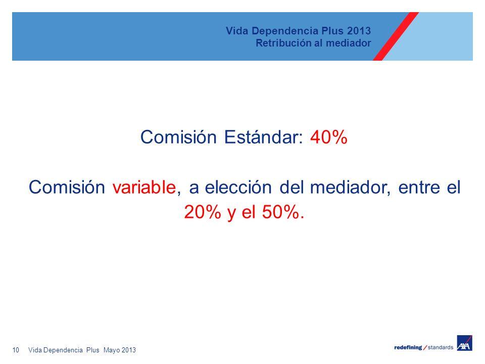 10 Vida Dependencia Plus 2013 Retribución al mediador Comisión Estándar: 40% Comisión variable, a elección del mediador, entre el 20% y el 50%. Vida D