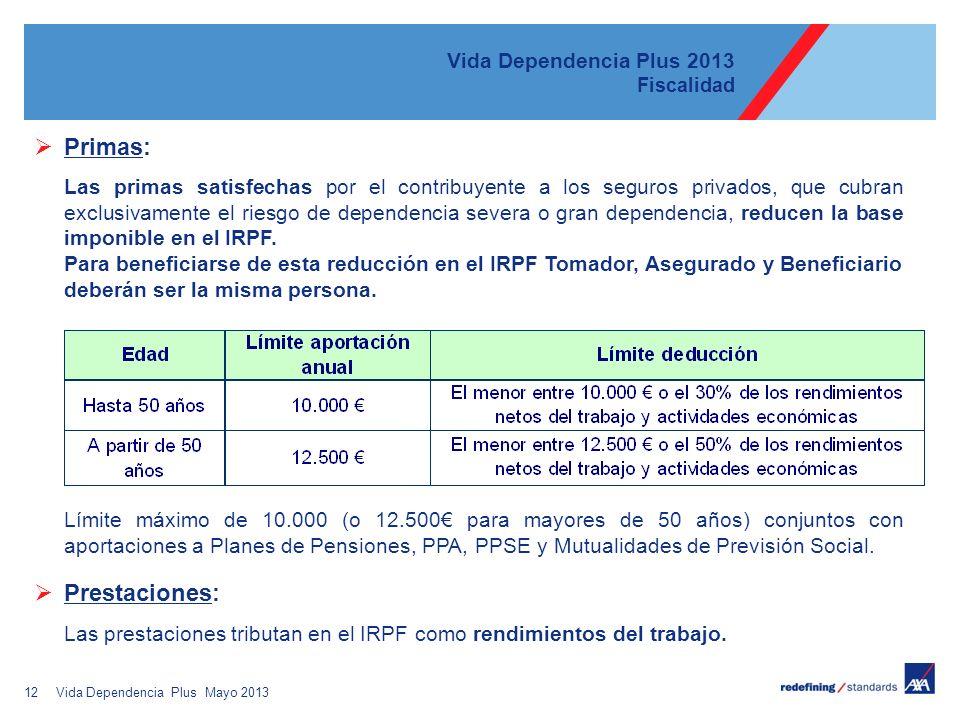 12 Vida Dependencia Plus 2013 Fiscalidad Primas: Las primas satisfechas por el contribuyente a los seguros privados, que cubran exclusivamente el riesgo de dependencia severa o gran dependencia, reducen la base imponible en el IRPF.
