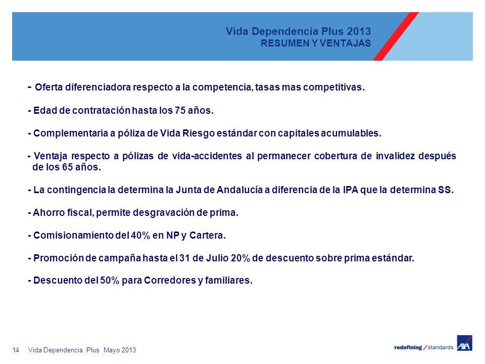 14 Vida Dependencia Plus 2013 RESUMEN Y VENTAJAS - Oferta diferenciadora respecto a la competencia, tasas mas competitivas. - Edad de contratación has