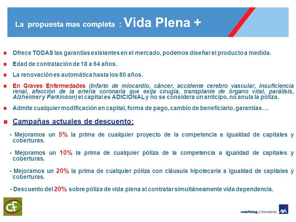 3 La propuesta mas completa : Vida Plena + Ofrece TODAS las garantías existentes en el mercado, podemos diseñar el producto a medida. Edad de contrata