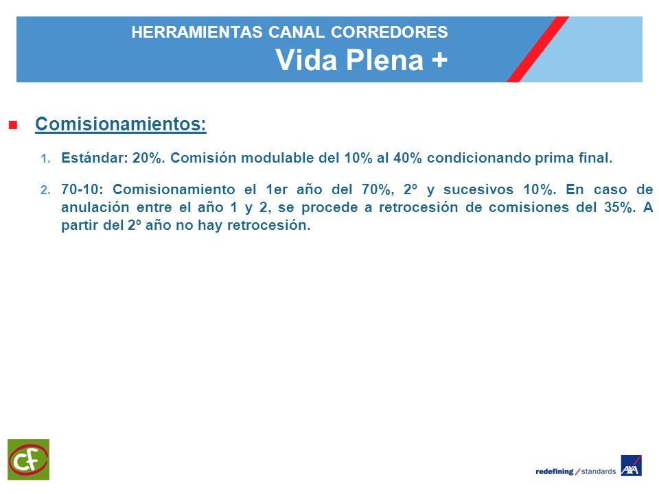 5 HERRAMIENTAS CANAL CORREDORES Vida Plena + Comisionamientos: 1. Estándar: 20%. Comisión modulable del 10% al 40% condicionando prima final. 2. 70-10