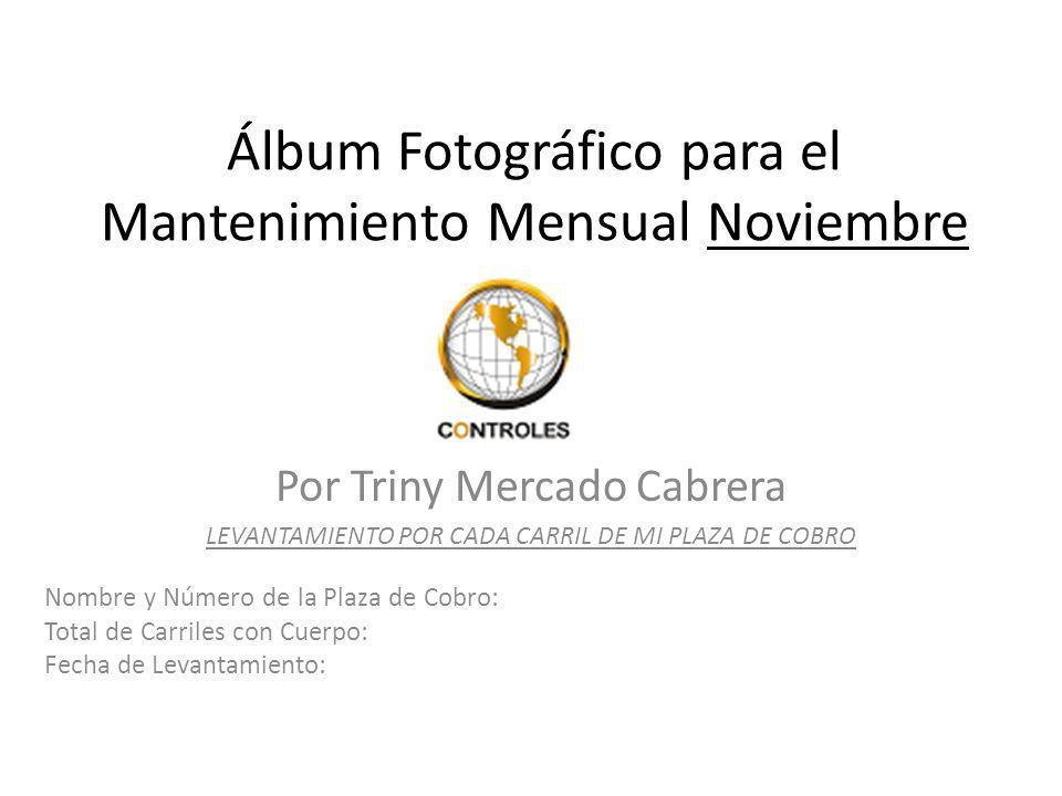Por Triny Mercado Cabrera LEVANTAMIENTO POR CADA CARRIL DE MI PLAZA DE COBRO Álbum Fotográfico para el Mantenimiento Mensual Noviembre Nombre y Número