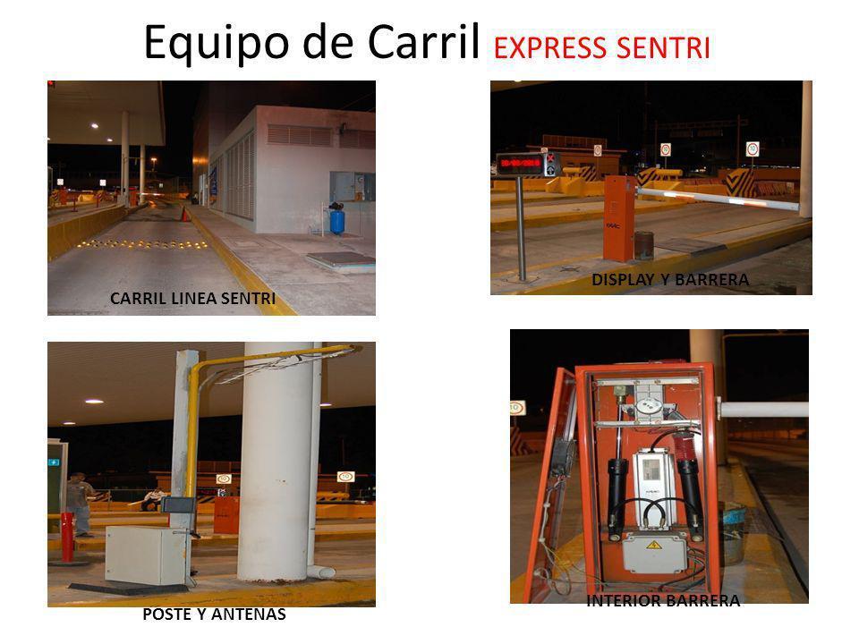 PANORAMICA EXPRESS DISPLAY Y BARRERA Equipo de Carril EXPRESS SENTRI INTERIOR BARRERA POSTE Y ANTENAS CARRIL LINEA SENTRI