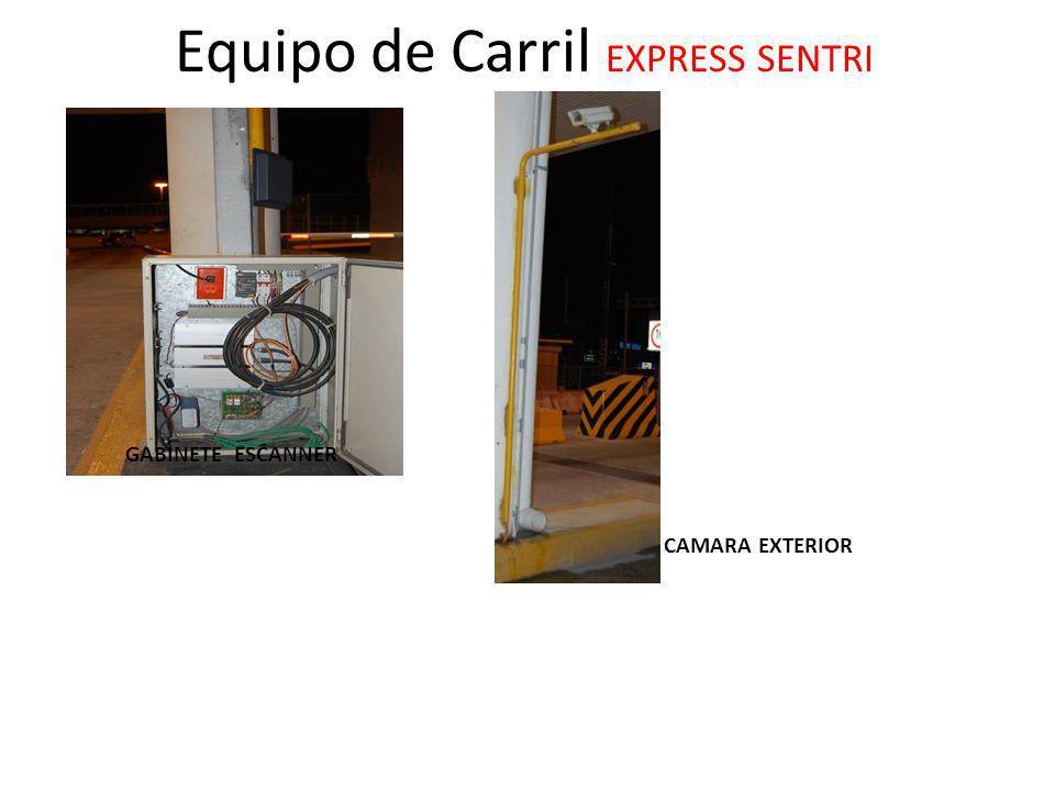 Equipo de Carril EXPRESS SENTRI CAMARA EXTERIOR GABINETE ESCANNER