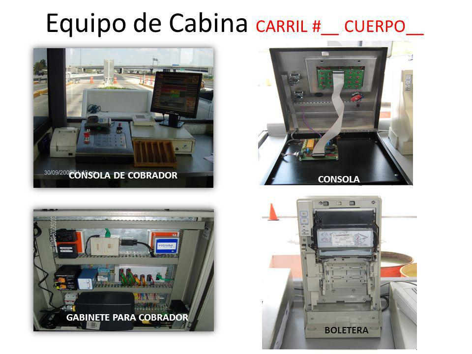 Equipo de Cabina CARRIL #__ CUERPO__ CONSOLA BOLETERA