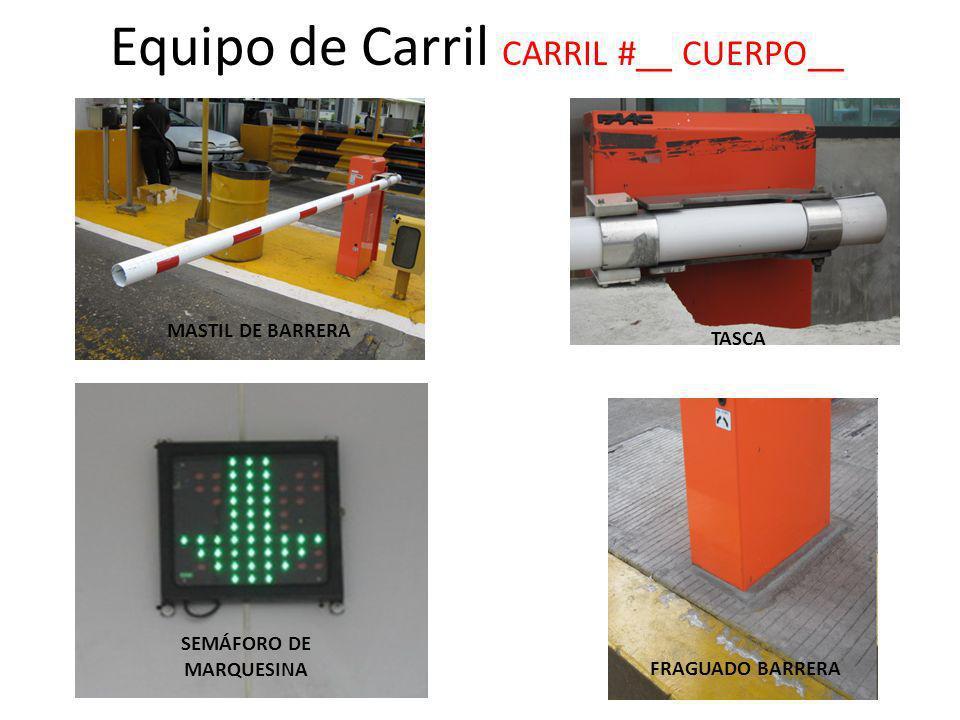 MASTIL DE BARRERA TASCA C1 FRAGUADO BARRERA SEMÁFORO DE MARQUESINA Equipo de Carril CARRIL #__ CUERPO__ TASCA