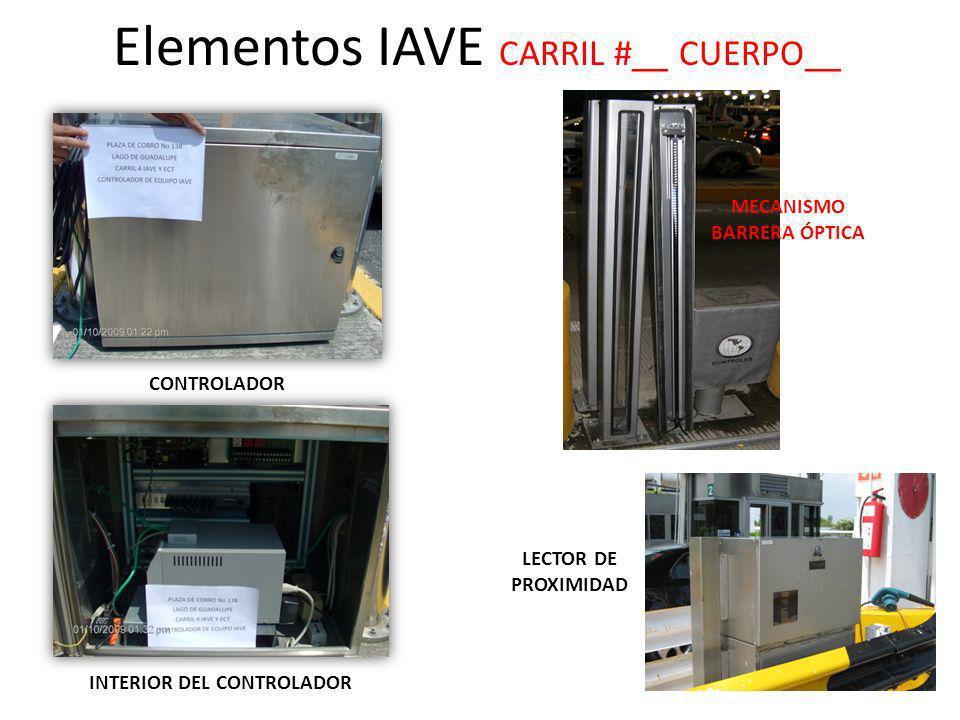 Elementos IAVE CARRIL #__ CUERPO__ MECANISMO BARRERA ÓPTICA LECTOR DE PROXIMIDAD