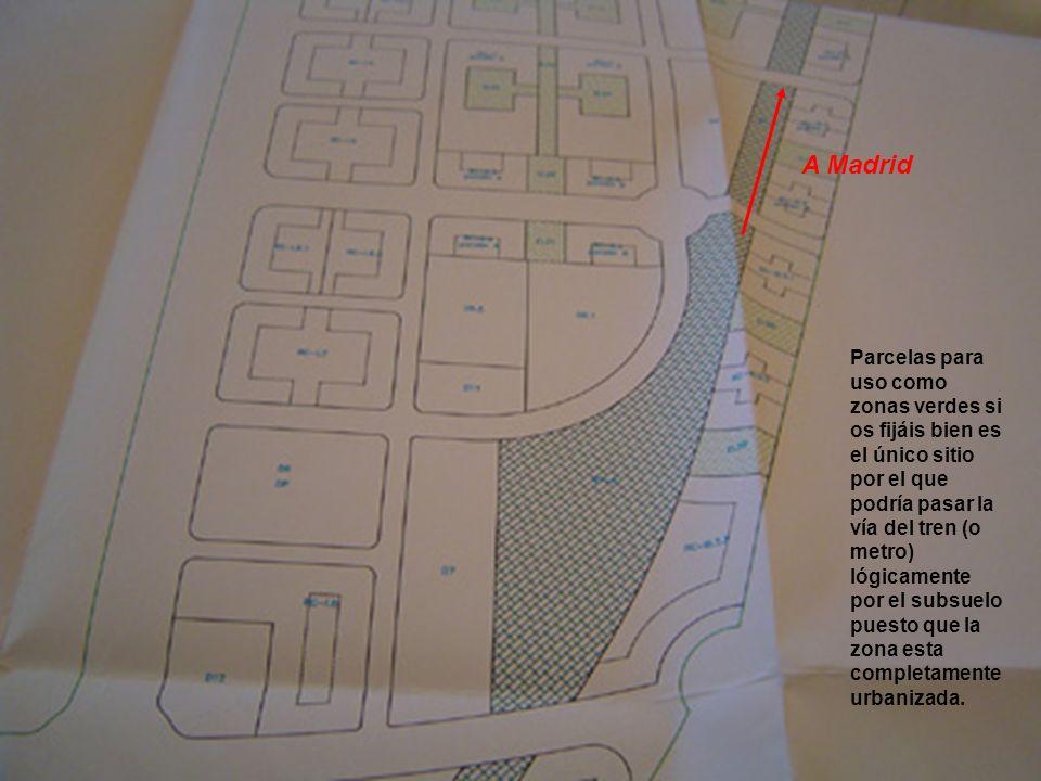 Parcelas para uso como zonas verdes si os fijáis bien es el único sitio por el que podría pasar la vía del tren (o metro) lógicamente por el subsuelo