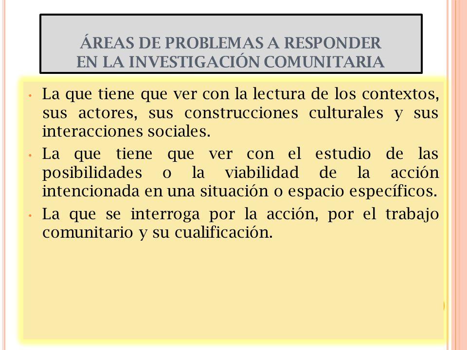 ÁREAS DE PROBLEMAS A RESPONDER EN LA INVESTIGACIÓN COMUNITARIA La que tiene que ver con la lectura de los contextos, sus actores, sus construcciones c