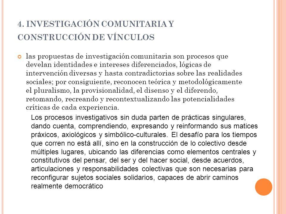 4. INVESTIGACIÓN COMUNITARIA Y CONSTRUCCIÓN DE VÍNCULOS las propuestas de investigación comunitaria son procesos que develan identidades e intereses d