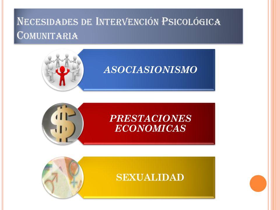 N ECESIDADES DE I NTERVENCIÓN P SICOLÓGICA C OMUNITARIA ASOCIASIONISMO PRESTACIONES ECONOMICAS SEXUALIDAD