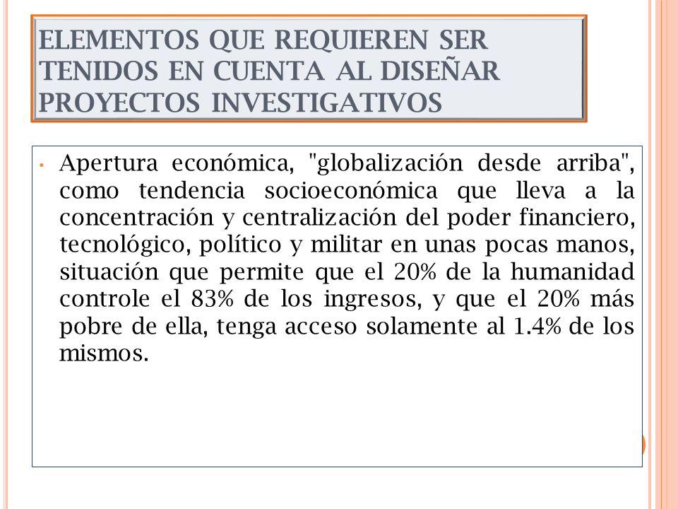ELEMENTOS QUE REQUIEREN SER TENIDOS EN CUENTA AL DISEÑAR PROYECTOS INVESTIGATIVOS Apertura económica,