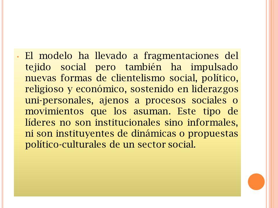 El modelo ha llevado a fragmentaciones del tejido social pero también ha impulsado nuevas formas de clientelismo social, político, religioso y económi