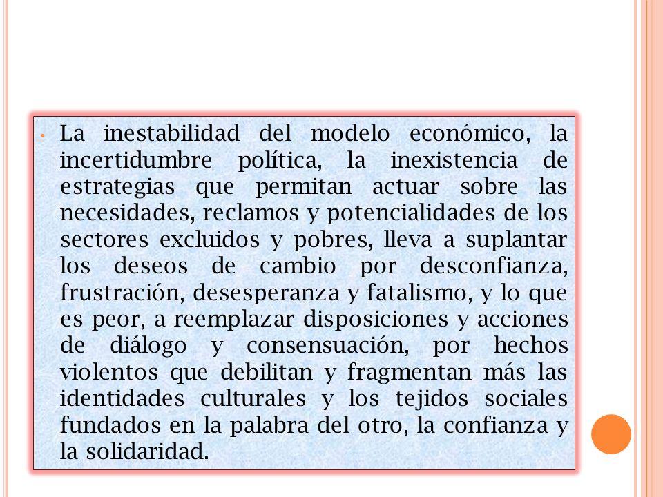 La inestabilidad del modelo económico, la incertidumbre política, la inexistencia de estrategias que permitan actuar sobre las necesidades, reclamos y