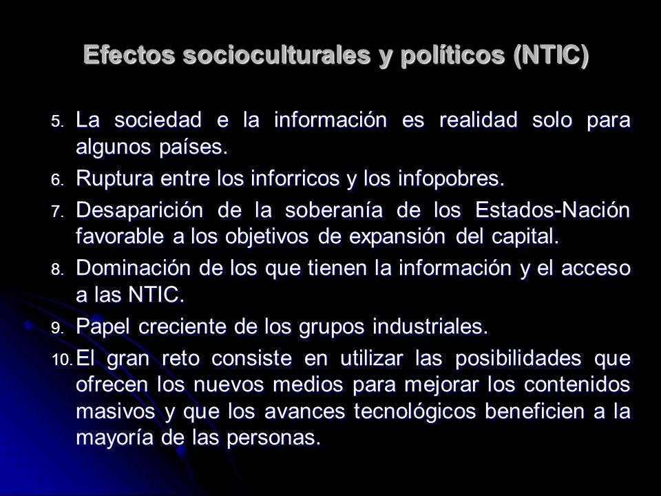 5. La sociedad e la información es realidad solo para algunos países.