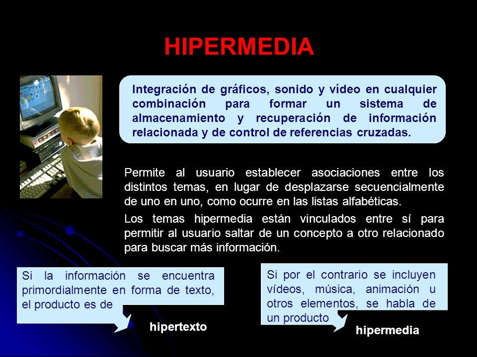 HIPERTEXTO Sistema de organización y almacenamiento de información, a la cual se puede acceder de forma no secuencial.
