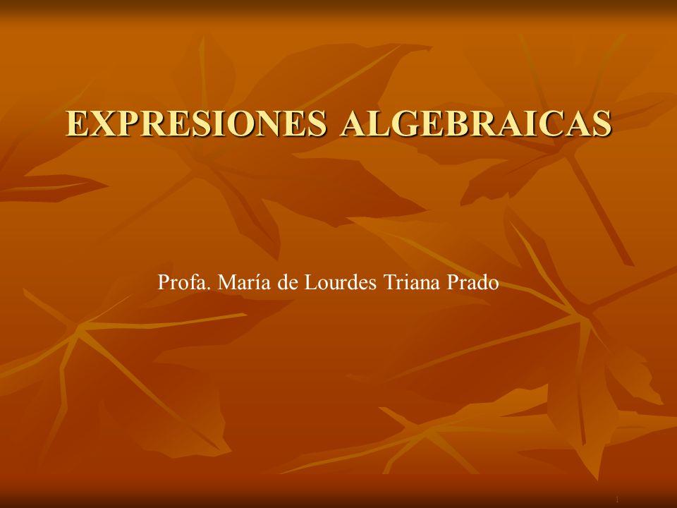 Expresiones Algebraicas Una expresión algebraica es una expresión en la que se relacionan valores indeterminados con constantes y cifras, todas ellas ligadas por un número finito de operaciones de suma, resta, producto, cociente, potencia y raíz.