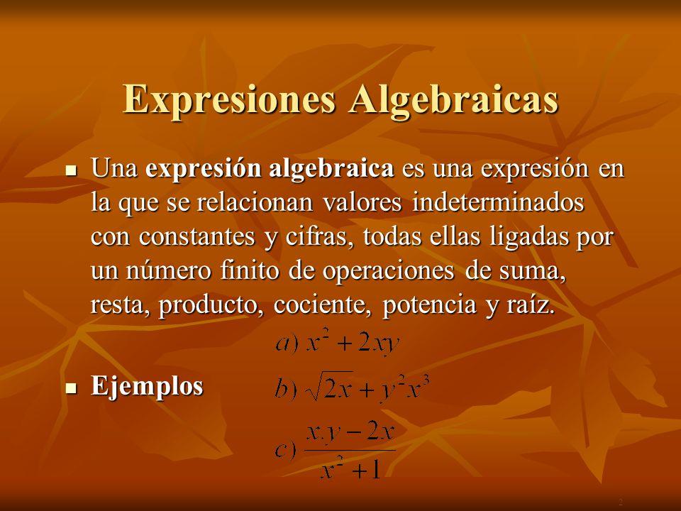 Tipos de Expresiones Algebraicas Expresiones Algebraicas Expresiones Algebraicas Racionales Irracionales Racionales Irracionales Enteras Fraccionarias 3