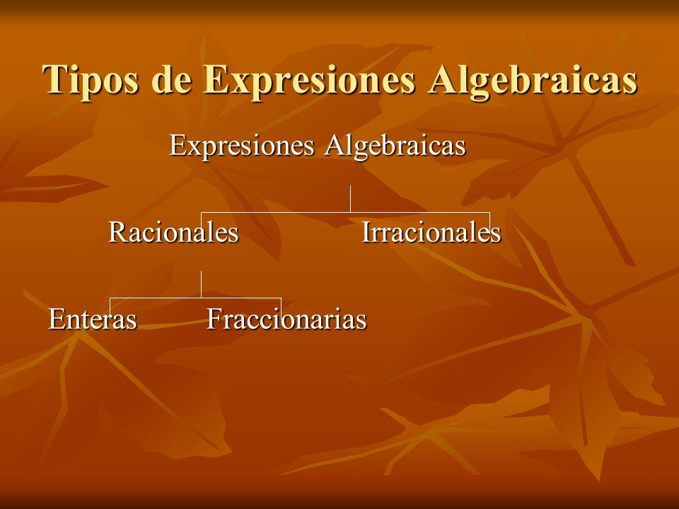 Expresión Algebraica Racional Es racional cuando las variables no están afectadas por la radicación Es racional cuando las variables no están afectadas por la radicación Ejemplo Ejemplo 4