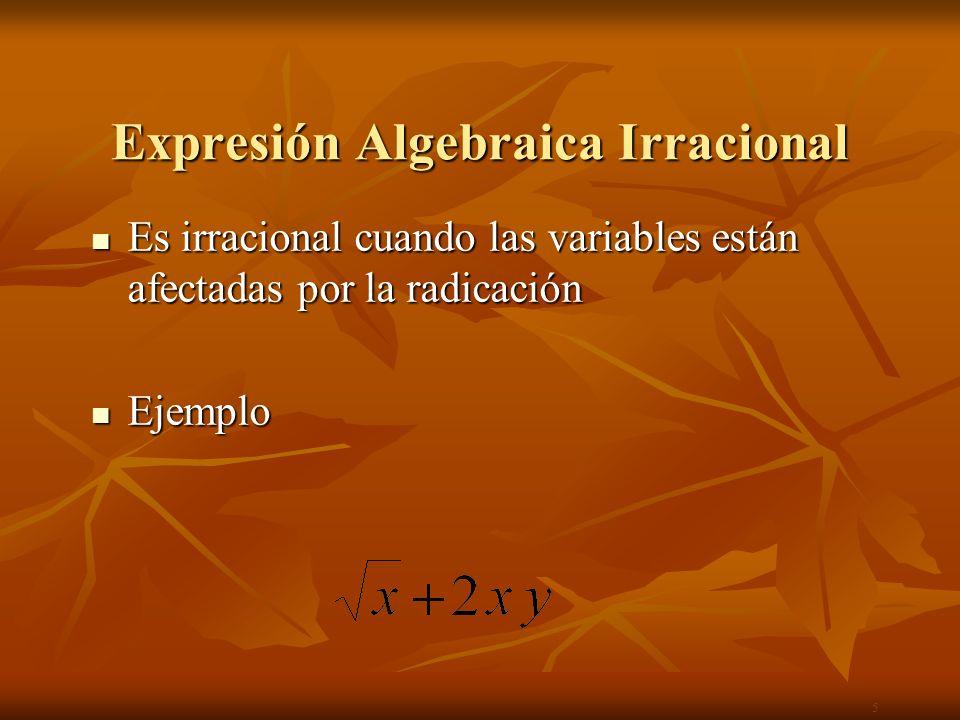 Expr.Algebraica Racional Entera Una expresión algebraicas es racional entera cuando la indeterminada está afectada sólo por operaciones de suma, resta, multiplicación y potencia natural.