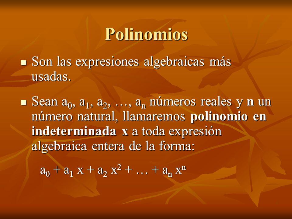Ejemplos de polinomios A los polinomios en indeterminada x los simbolizaremos con letras mayúsculas indicando la indeterminada entre paréntesis: P(x) ; Q(x) ; T(X).