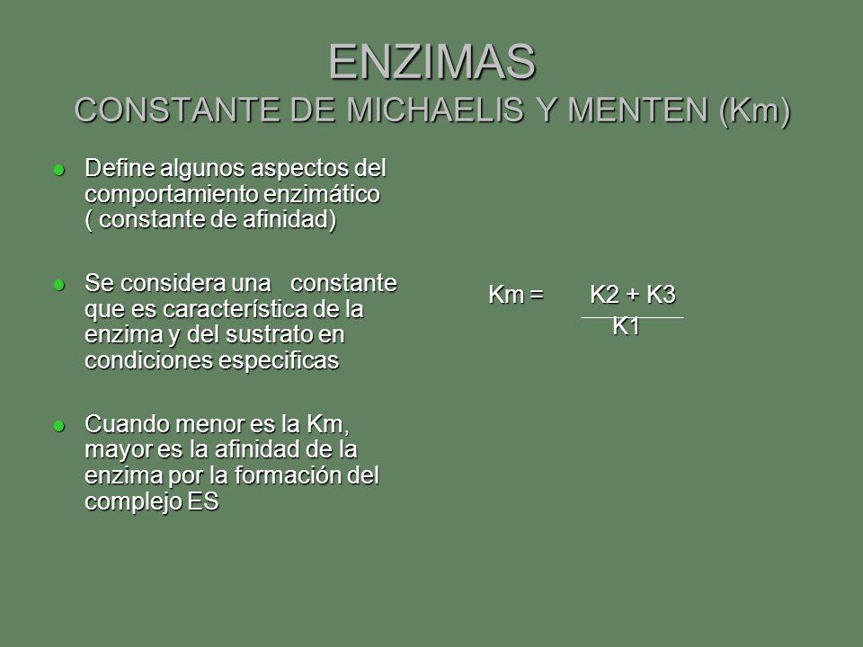 ENZIMAS CONSTANTE DE MICHAELIS Y MENTEN (Km) Define algunos aspectos del comportamiento enzimático ( constante de afinidad) Define algunos aspectos de