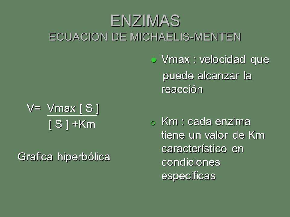 ENZIMAS ECUACION DE MICHAELIS-MENTEN V= Vmax [ S ] V= Vmax [ S ] [ S ] +Km [ S ] +Km Grafica hiperbólica Vmax : velocidad que Vmax : velocidad que pue