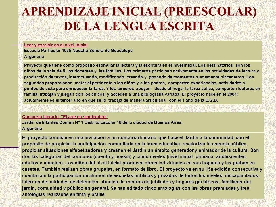 APRENDIZAJE INICIAL (PREESCOLAR) DE LA LENGUA ESCRITA Leer y escribir en el nivel Inicial Leer y escribir en el nivel Inicial Escuela Particular 1035