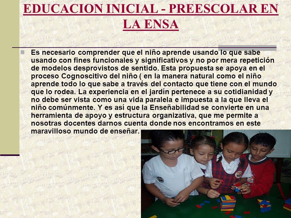EDUCACION INICIAL - PREESCOLAR EN LA ENSA Es necesario comprender que el niño aprende usando lo que sabe usando con fines funcionales y significativos