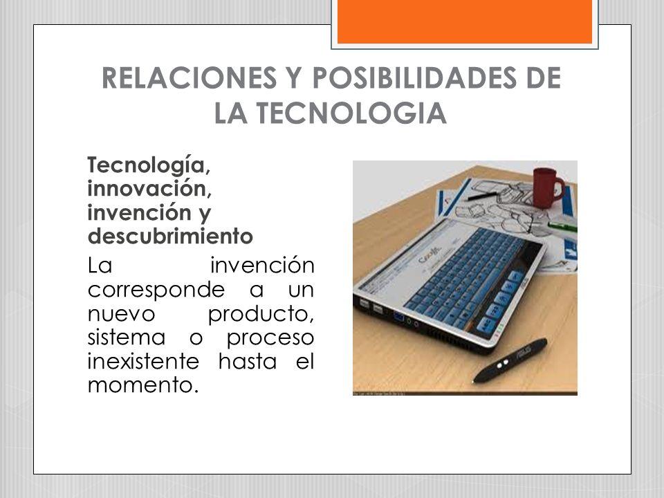 RELACIONES Y POSIBILIDADES DE LA TECNOLOGIA Tecnología, innovación, invención y descubrimiento La invención corresponde a un nuevo producto, sistema o