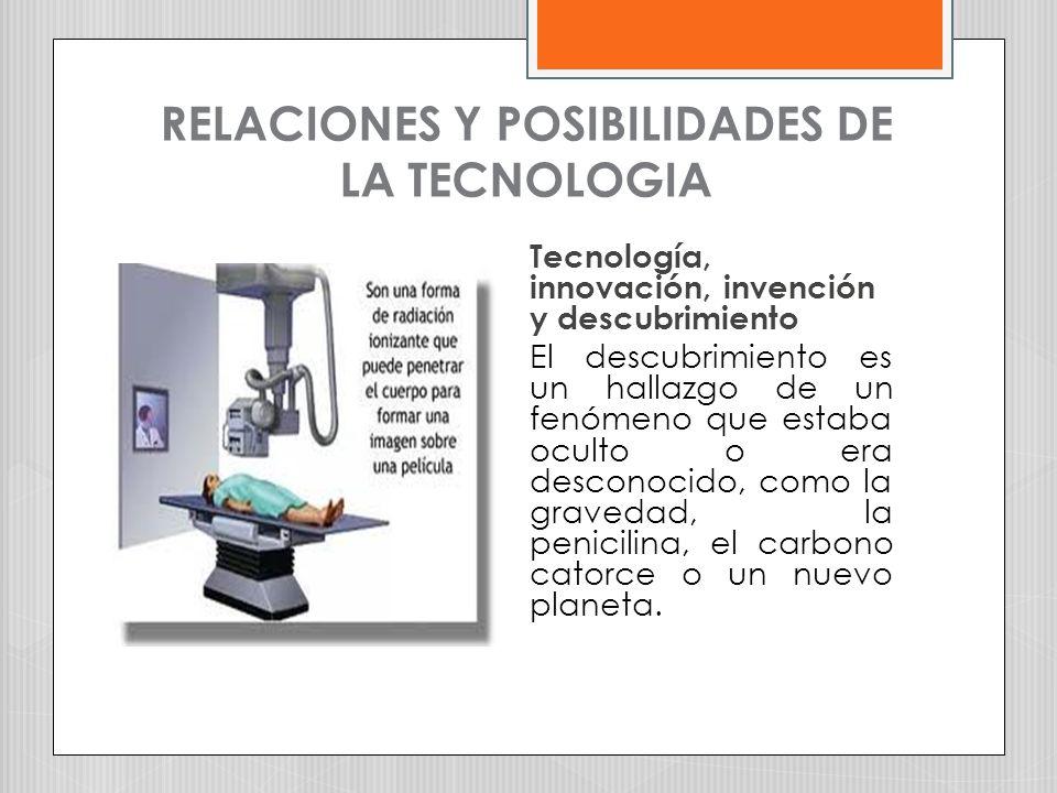 RELACIONES Y POSIBILIDADES DE LA TECNOLOGIA Tecnología, innovación, invención y descubrimiento El descubrimiento es un hallazgo de un fenómeno que est