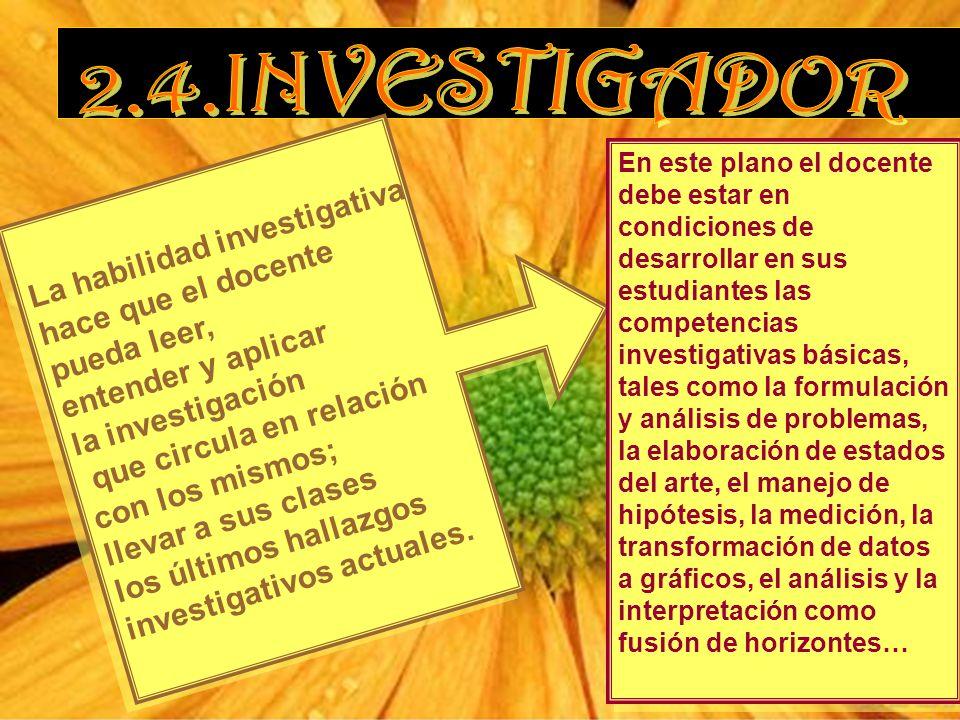 La habilidad investigativa hace que el docente pueda leer, entender y aplicar la investigación que circula en relación con los mismos; llevar a sus clases los últimos hallazgos investigativos actuales.