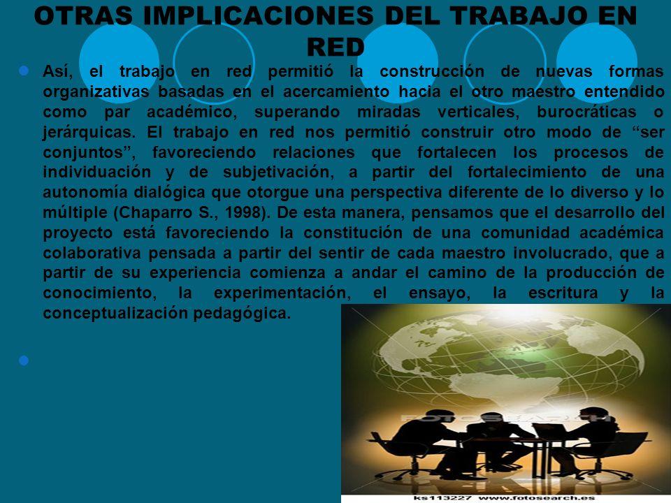 LAS INNOVACIONES A PARTIR DE LAS REDES Para ello se propuso que los integrantes de las diferentes instituciones vinculadas desarrollen innovaciones, i