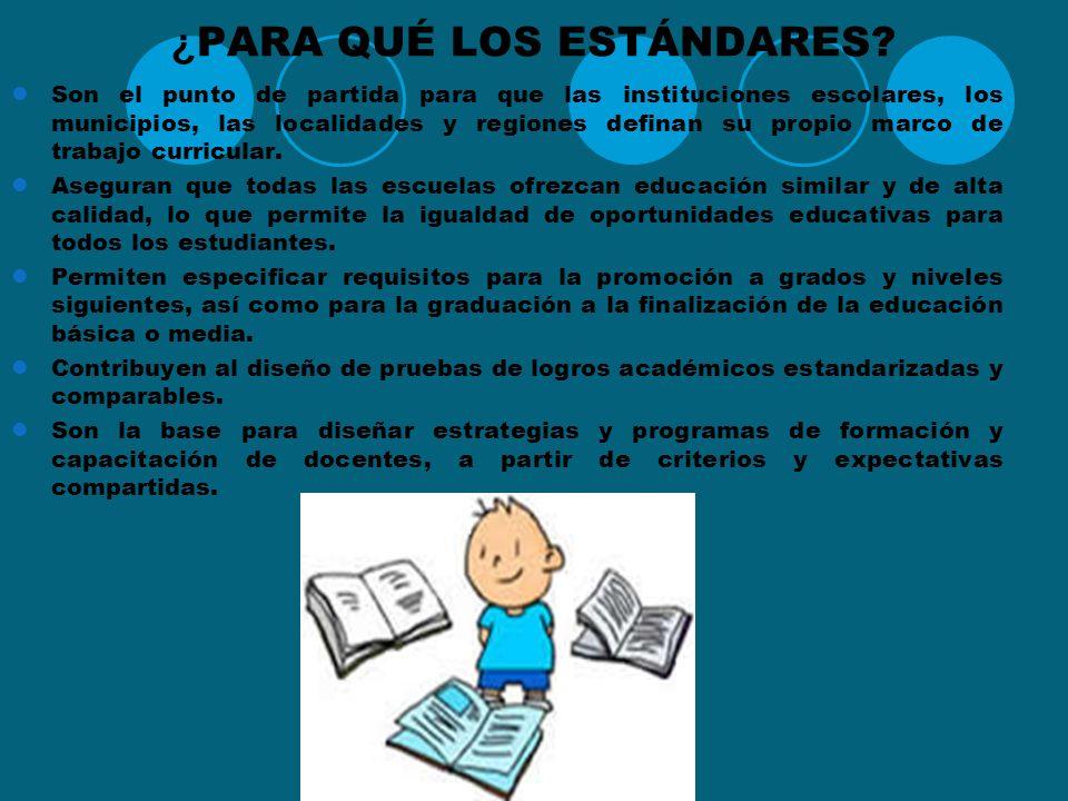 ¿POR QUÉ ESTÁNDARES? Los principios son los siguientes : El mejoramiento de la calidad de la educación debe partir del supuesto de que todos los niños