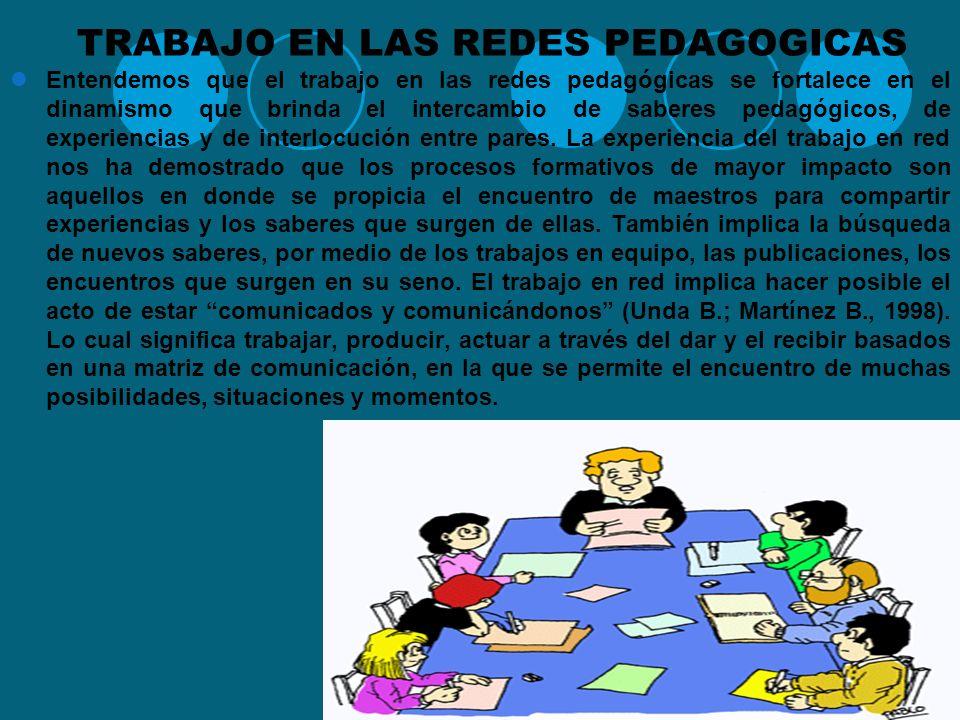 RED PEDAGOGICA Y SU HISTORIA El trabajo en red ha sido desarrollado desde diferentes perspectivas a lo largo de la historia reciente. También ha recib