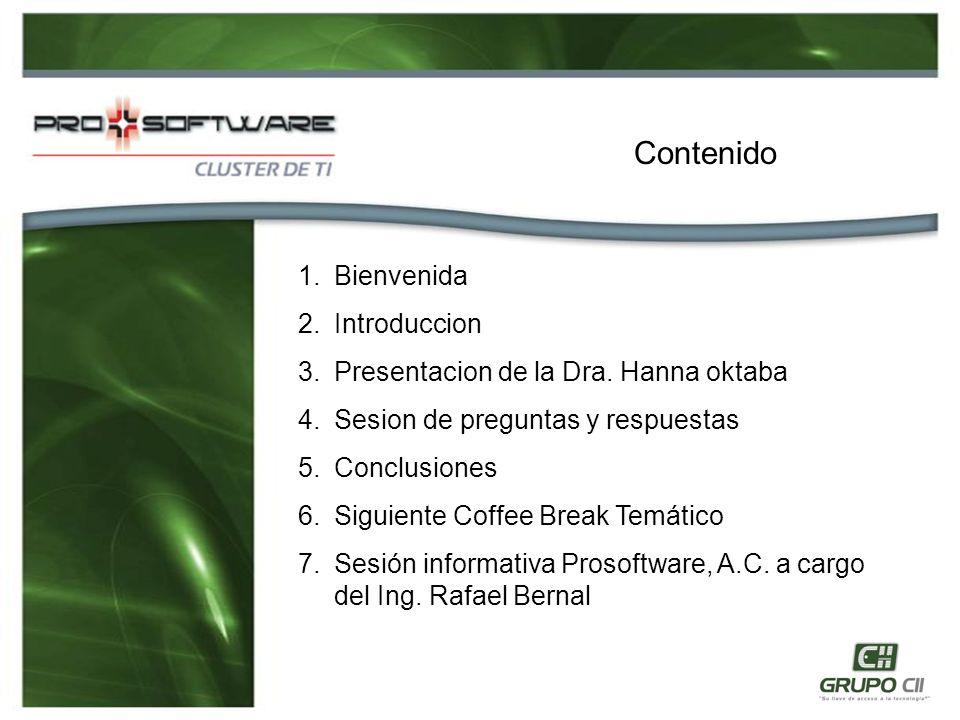 1.Bienvenida 2.Introduccion 3.Presentacion de la Dra.
