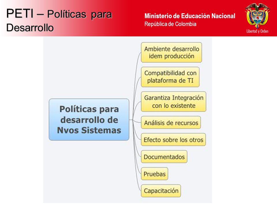 Ministerio de Educación Nacional República de Colombia PETI – Políticas para Desarrollo