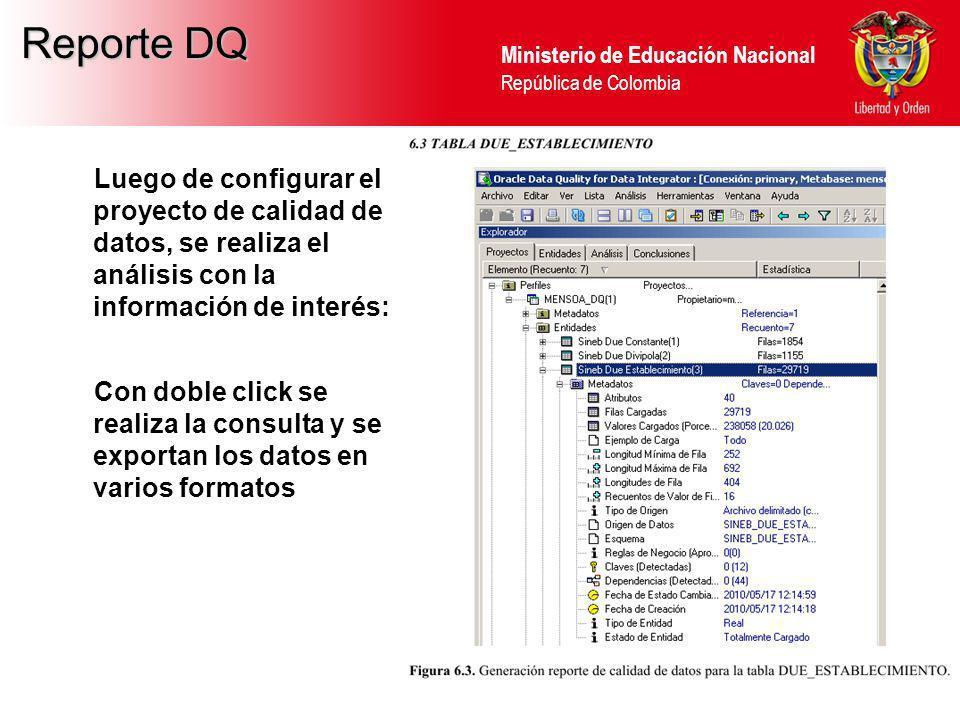 Ministerio de Educación Nacional República de Colombia Reporte DQ Luego de configurar el proyecto de calidad de datos, se realiza el análisis con la i