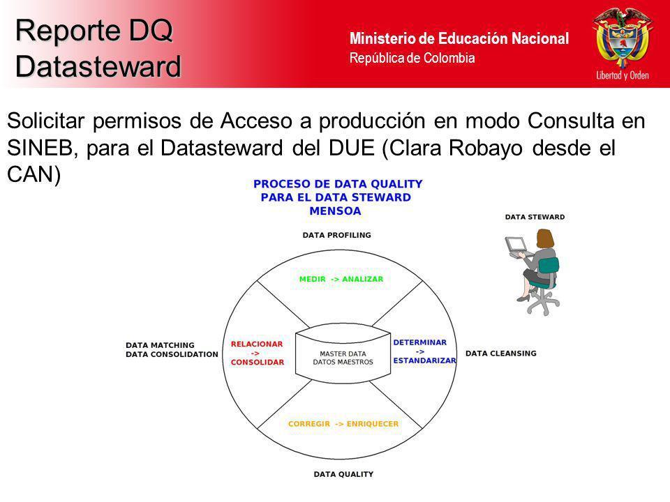 Ministerio de Educación Nacional República de Colombia Reporte DQ Datasteward Solicitar permisos de Acceso a producción en modo Consulta en SINEB, par