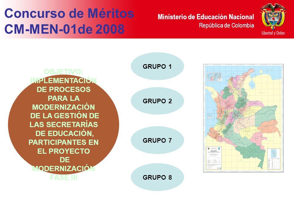 Ministerio de Educación Nacional República de Colombia OBJETIVO: IMPLEMENTACIÓN DE PROCESOS PARA LA MODERNIZACIÓN DE LA GESTIÓN DE LAS SECRETARÍAS DE EDUCACIÓN, PARTICIPANTES EN EL PROYECTO DE MODERNIZACIÓN FASE III Concurso de Méritos CM-MEN-01de 2008 GRUPO 1 GRUPO 2 GRUPO 7 GRUPO 8