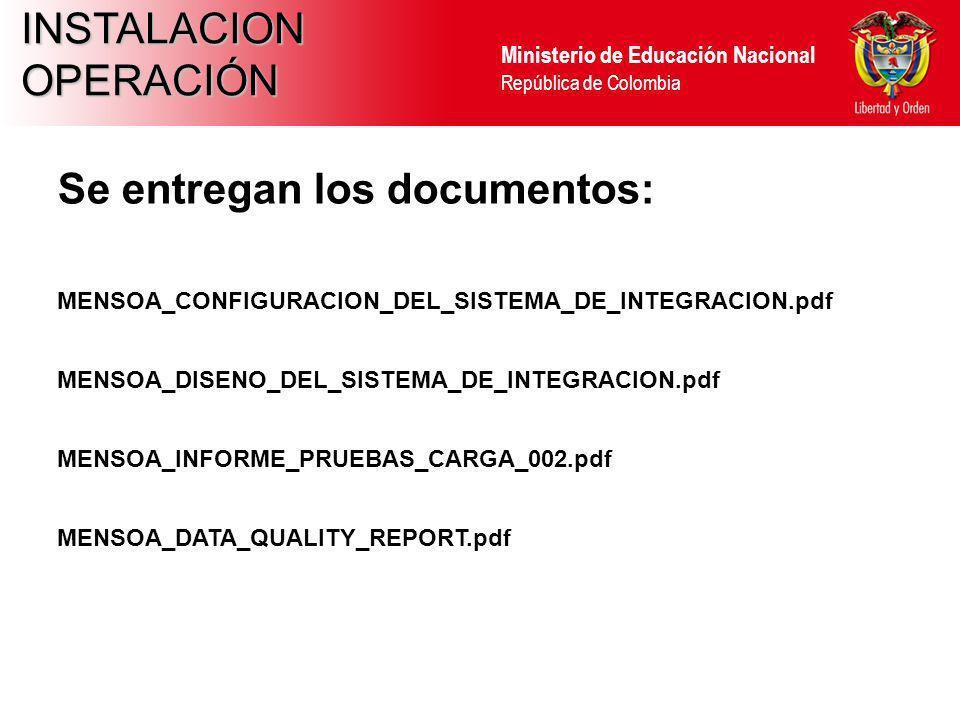 Ministerio de Educación Nacional República de Colombia INSTALACIONOPERACIÓN Se entregan los documentos: MENSOA_CONFIGURACION_DEL_SISTEMA_DE_INTEGRACIO