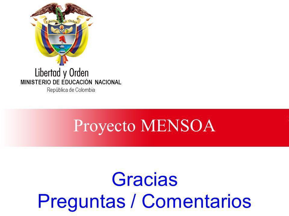 Ministerio de Educación Nacional República de Colombia Proyecto MENSOA MINISTERIO DE EDUCACIÓN NACIONAL República de Colombia Gracias Preguntas / Come