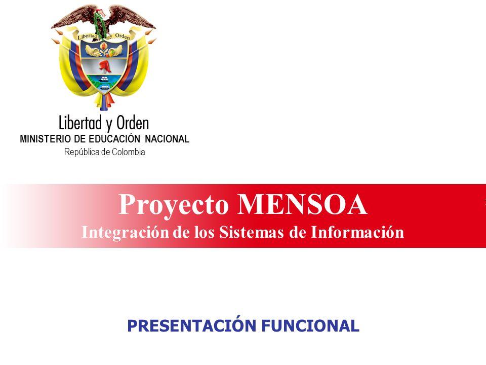 Ministerio de Educación Nacional República de Colombia Proyecto MENSOA Integración de los Sistemas de Información MINISTERIO DE EDUCACIÓN NACIONAL Rep