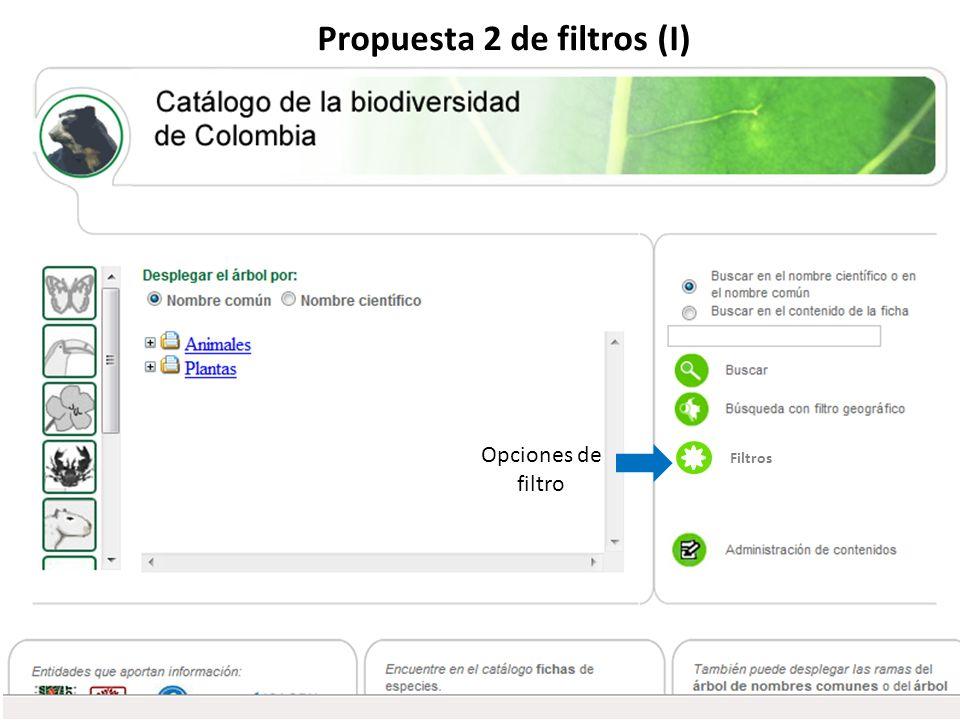 Propuesta 2 de filtros (I) Filtros Opciones de filtro