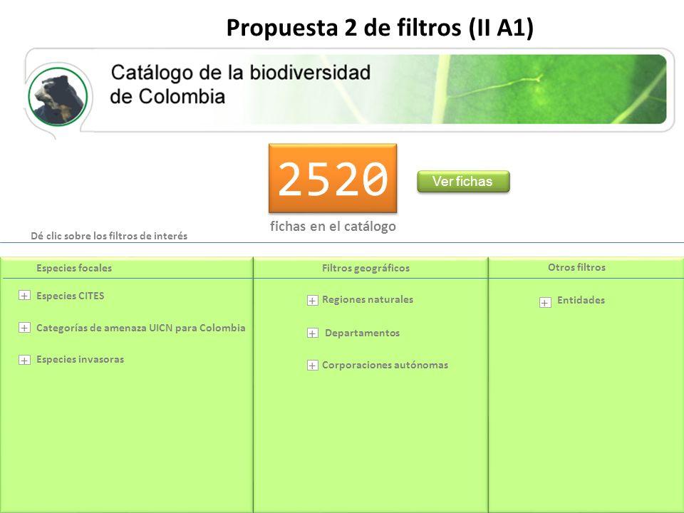 2520 fichas en el catálogo Ver fichas Propuesta 2 de filtros (II A1) Departamentos Entidades Categorías de amenaza UICN para Colombia Regiones naturales Corporaciones autónomas Especies CITES Especies invasoras Especies focalesFiltros geográficos Otros filtros + + + + + + + Dé clic sobre los filtros de interés