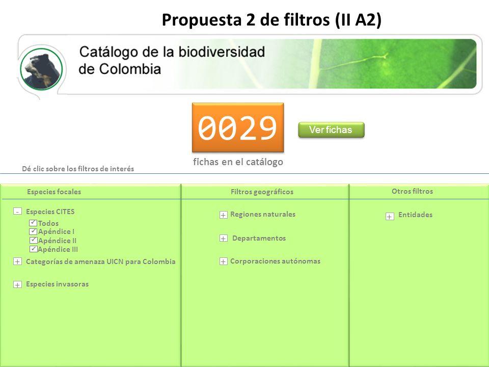 0029 fichas en el catálogo Ver fichas Propuesta 2 de filtros (II A2) Dé clic sobre los filtros de interés Departamentos Entidades Categorías de amenaza UICN para Colombia Regiones naturales Corporaciones autónomas Especies CITES Especies invasoras Especies focalesFiltros geográficos Otros filtros - + + + + + + Apéndice I Apéndice II Apéndice III Todos