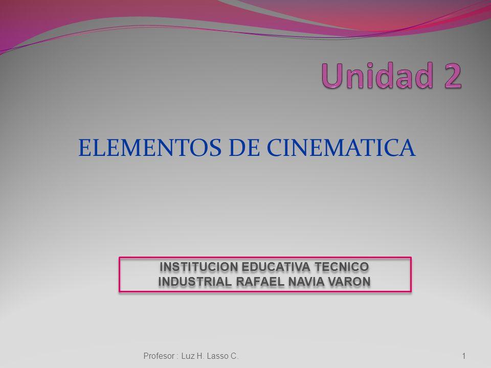 ELEMENTOS DE CINEMATICA Profesor : Luz H.