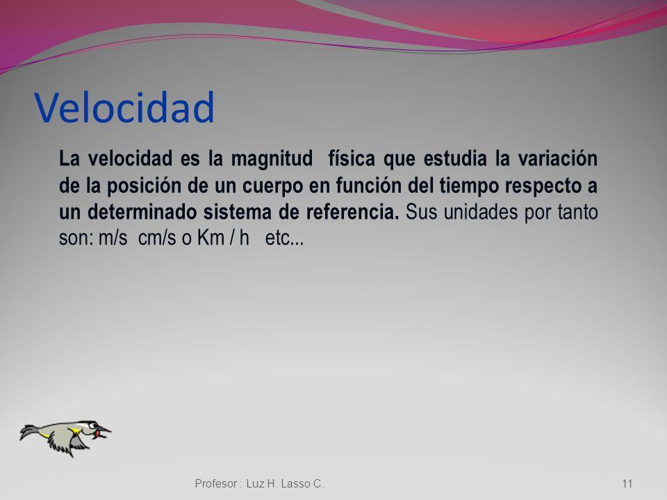 VELOCIDAD Profesor : Luz H. Lasso C.10